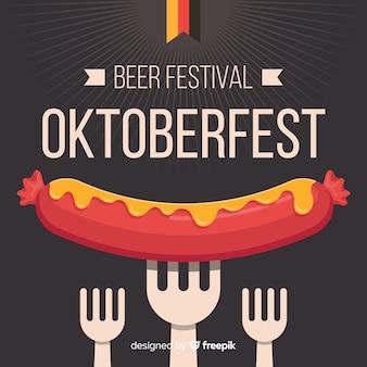 Oktoberfest-konzept mit flachem designhintergrund Premium Vektoren
