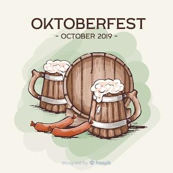 Oktoberfest-konzept mit hand gezeichnetem hintergrund