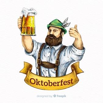 Oktoberfest-konzepthintergrund mit hand gezeichnetem tirol