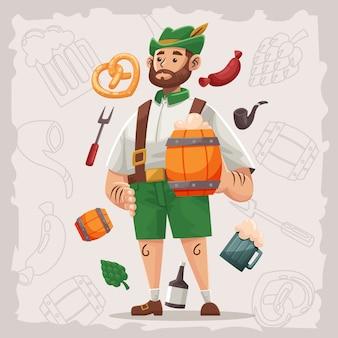 Oktoberfest mann charakter mit artikel ornament