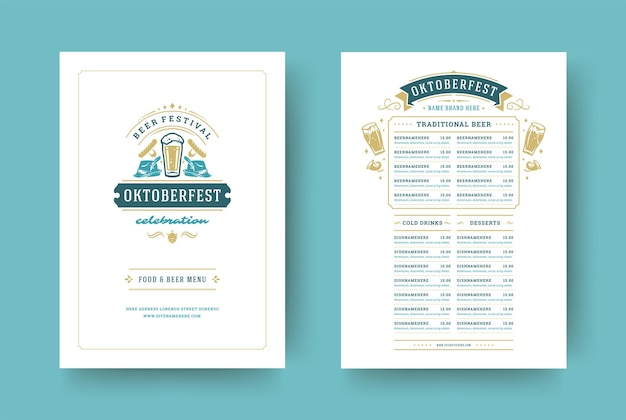 Oktoberfest-menü vintage-typografie-vektor-vorlage mit cover-bier-festival-feier und abzeichen-design.