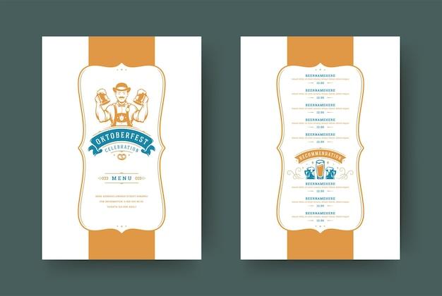 Oktoberfest-menü vintage-typografie-vorlage mit cover-bier-festival-feier und etikettendesign-vektor-illustration.