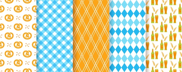 Oktoberfest-nahtloser hintergrund. oktoberfest-muster. vektor. drucke mit raute, bier, brezel, plaid und gingham. satz von deutschland traditionelle texturen. bayerische rautentapete