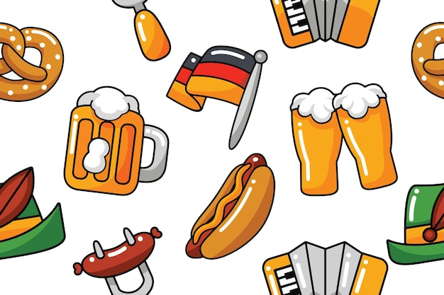 Oktoberfest-nahtloses muster im flachen design-stil