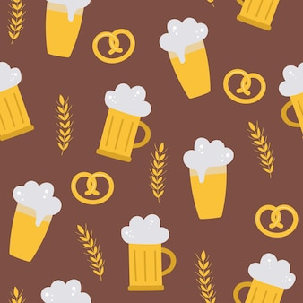 Oktoberfest nahtloses vektormuster mit bierbrezelweizen auf braunem hintergrund