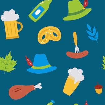 Oktoberfest nahtloses vektormuster mit bierwürsten verlassen hutbrezel auf blauem hintergrund