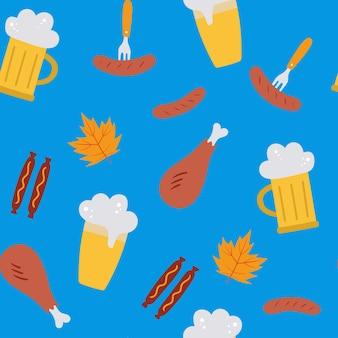 Oktoberfest nahtloses vektormuster mit bierwürstenblättern auf blauem hintergrund