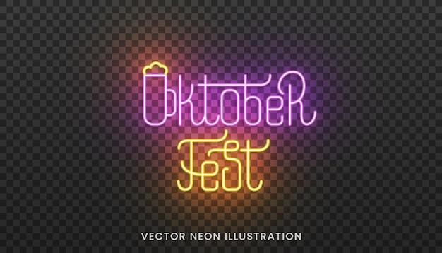 Oktoberfest-neon-schriftzug-etikett. helles schild mit individueller typografie für das oktoberfest.