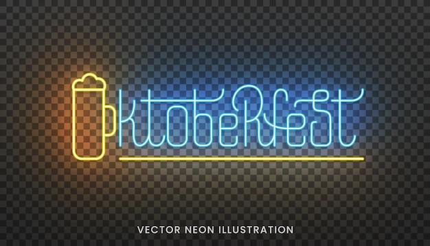 Oktoberfest-neon-schriftzug. helles schild mit individueller typografie für das oktoberfest.