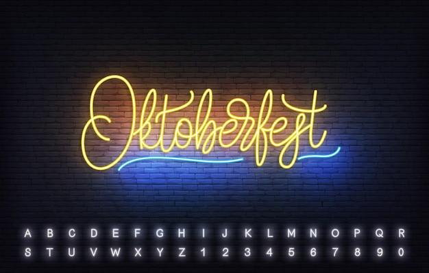 Oktoberfest-neon-schriftzug-vorlage. helles schild mit individueller typografie für das oktoberfest.