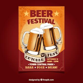 Oktoberfest, orange poster mit zwei bieren