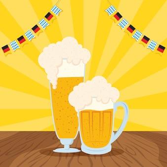 Oktoberfest party feier mit bier und girlanden vektor-illustration design