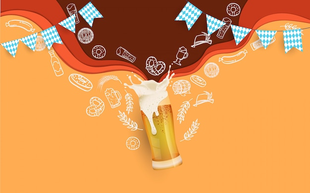 Oktoberfest party illustration mit frischem bier