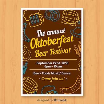 Oktoberfest party poster im flachen design