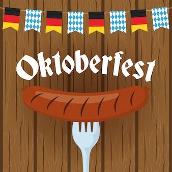 Oktoberfest-partybeschriftung mit wurst im gabelvektorillustrationsdesign