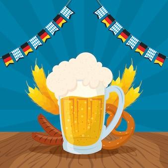 Oktoberfest-partyfeier mit bierkrug und lebensmittelvektorillustrationsdesign