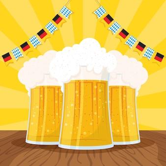 Oktoberfest-partyfeierillustration mit bierkrügen und girlanden