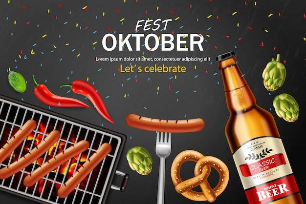 Oktoberfest-plakat mit bier