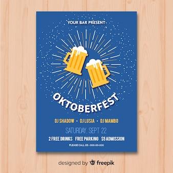 Oktoberfest-plakatmodell im flachen design