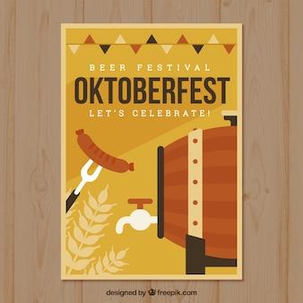 Oktoberfest poster mit fass und wurst