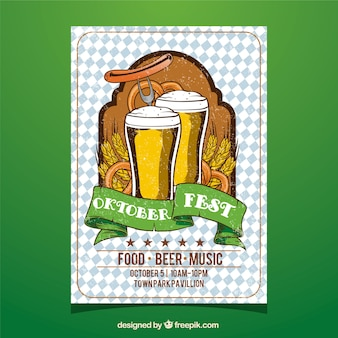Oktoberfest, poster mit zwei bieren