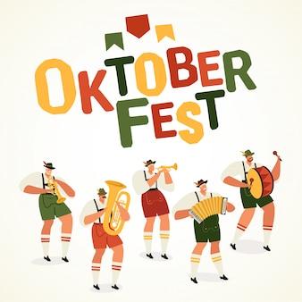 Oktoberfest, quadratische fahne der weltgrößten bierfestival-musiker