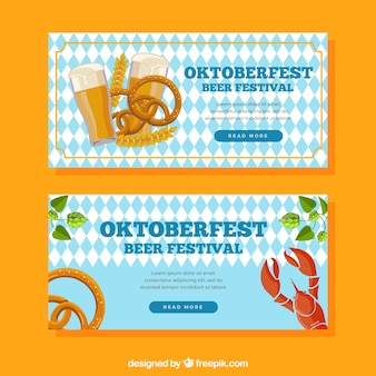 Oktoberfest raute banner mit traditionellem essen und getränk