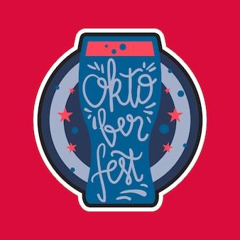 Oktoberfest-schriftzug. bierfestival handgemachtes gestaltungselement für abzeichen, aufkleber, poster und druck, t-shirt, kleidung. vektor