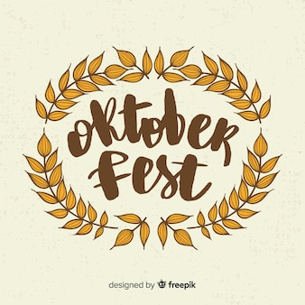 Oktoberfest schriftzug hintergrund mit elementen