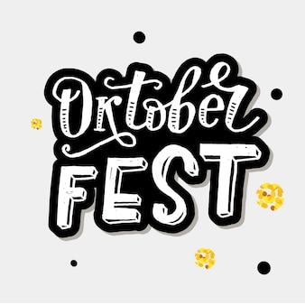 Oktoberfest schriftzug kalligraphie pinsel text urlaub gold