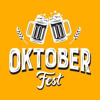 Oktoberfest schriftzug mit bier