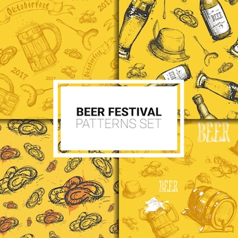 Oktoberfest seamless pattern set deutsches bierfest