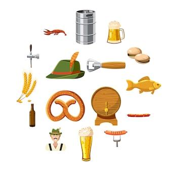 Oktoberfest-symbole im cartoon-stil festgelegt
