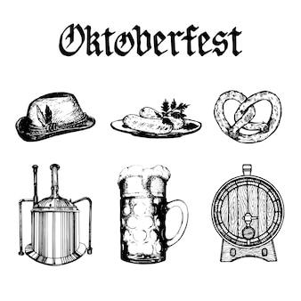 Oktoberfest symbolsammlung. gezeichnete illustrationen von glasbecher, brezel, fass, bayerischem hut, wasserkocher, würstchen und text in handgeschriebener gotischer schrift