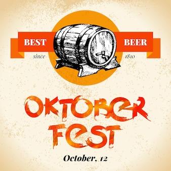 Oktoberfest-vintage-hintergrund. typografisches plakat. hand gezeichnete skizze und aquarellvektorillustration