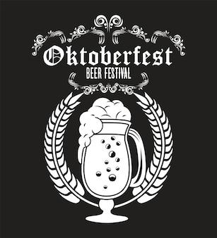 Oktoberfestfeierfestplakat mit bierbecher.