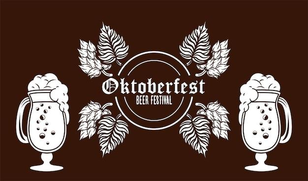 Oktoberfestfeierfestplakat mit bierbechern.