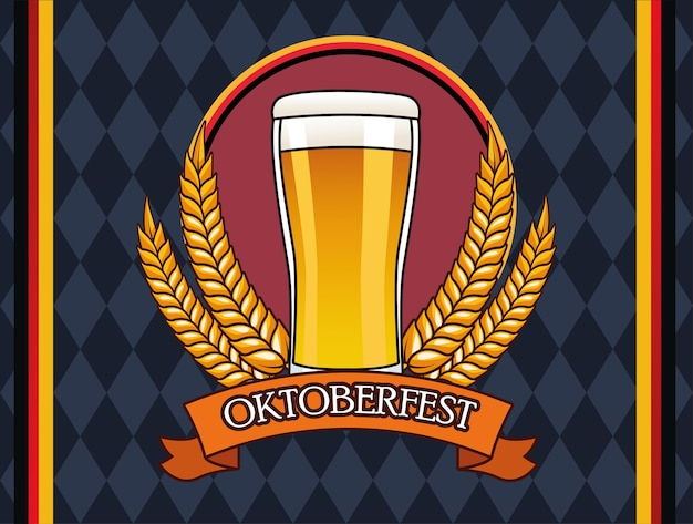Oktoberfestfeierkarte mit biergetränk im glas