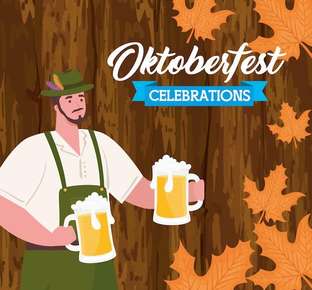 Oktoberfestfestfeier und mann mit gläserbieren im holzwandvektorillustrationsdesign