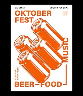Oktoberfestfestplakat brezelglas bier und flasche mit typografie