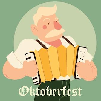 Oktoberfestmannkarikatur mit traditionellem stoff- und akkordeonentwurf, deutschlandfestival und feierthemaillustration