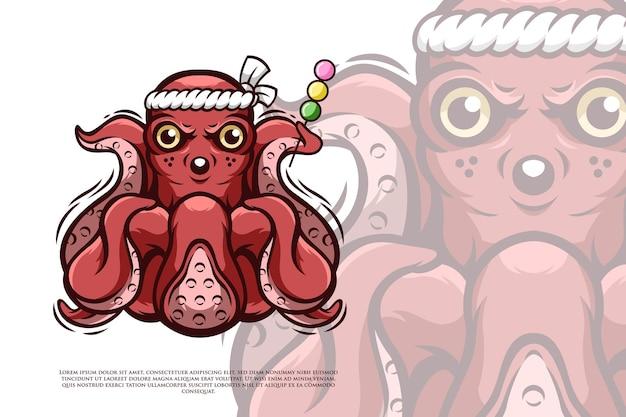 Oktopus-charakter im japanischen stil