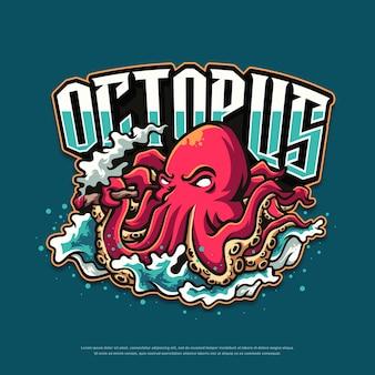Oktopus-logo-maskottchen-design