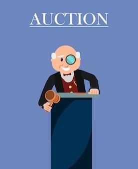 Old man auctioneer mit holzhammer und monokel.