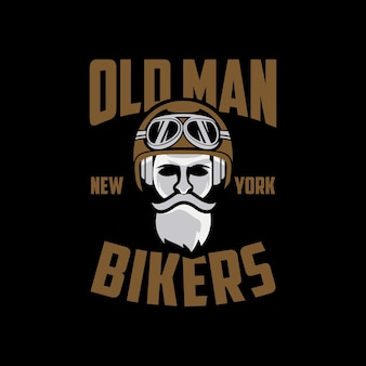 Old man biker new york logo-design
