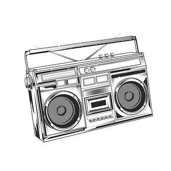 Old school boombox illustration