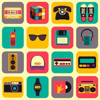 Old style ausrüstungen, zubehör und dinge icons set. old school-sammlung im flachen stil
