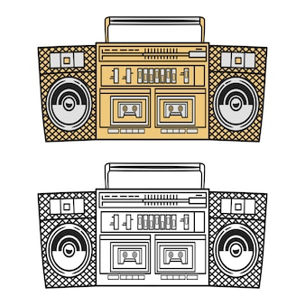 Old style music boombox illustration