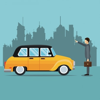 Old taxi auto passagier benutzer service öffentlichkeit