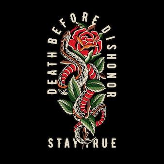 Oldschool schlange tattoo illustration mit rose und blättern